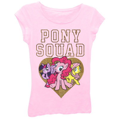 """My Little Pony Girls' """"Pony Squad"""" with Heart Short Sleeve Graphic T-Shirt with Gold Glitter"""
