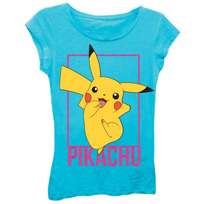Pokemon Girls' Pikachu Jumping Pose Short Sleeve Graphic T-Shirt with Black Glitter