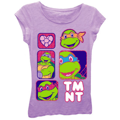 Teenage Mutant Ninja Turtles Girls' Character Panels with Hearts and Bubble Logo Short Sleeve Graphic T-Shirt with Pink Glitter