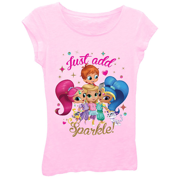 "Shimmer and Shine Girls' ""Just Add Sparkle"" Short Sleeve Graphic T-Shirt with Gold Glitter"