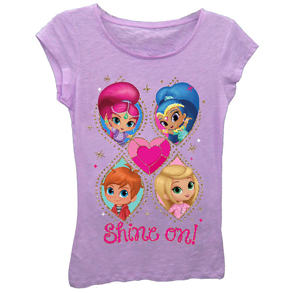 "Shimmer and Shine Girls' ""Love Ya!"" Short Sleeve Graphic T-Shirt with Gold Glitter"