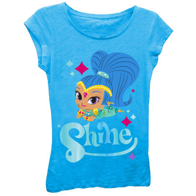 Shimmer and Shine Girls' Shine Posing with Sparkles Short Sleeve Graphic T-Shirt with Blue Foil