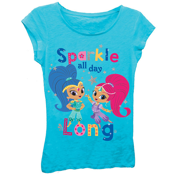 "Shimmer and Shine Girls' ""Sparkle All Day Long"" Short Sleeve Graphic T-Shirt with Silver Glitter"