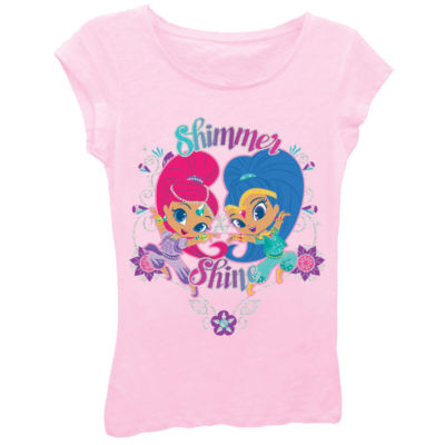 Shimmer and Shine Girls' Posing with Flowers Short Sleeve Graphic T-Shirt with Silver Glitter