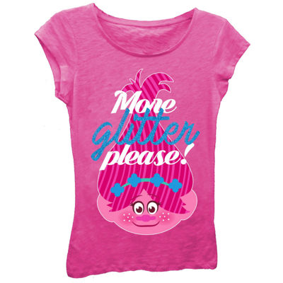 "Trolls Girls' ""More Glitter Please!"" Short Sleeve Graphic T-Shirt with Blue Glitter"
