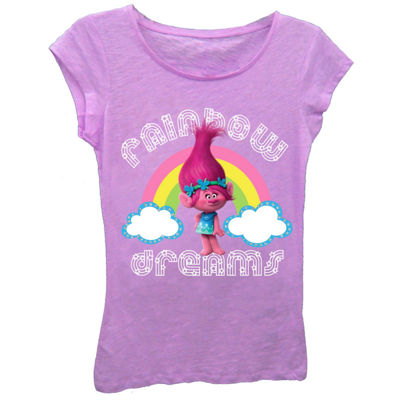 "Trolls Girls' ""Rainbow Dreams"" Short Sleeve Graphic T-Shirt with Silver Glitter"