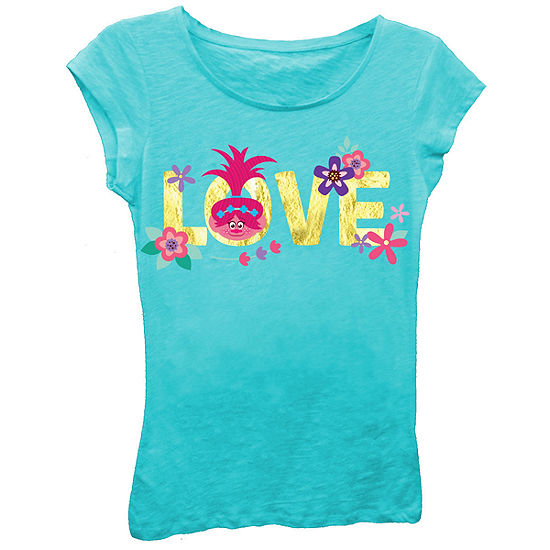 "Trolls Girls' Princess Poppy ""Love"" Short Sleeve Graphic T-Shirt with Gold Foil"
