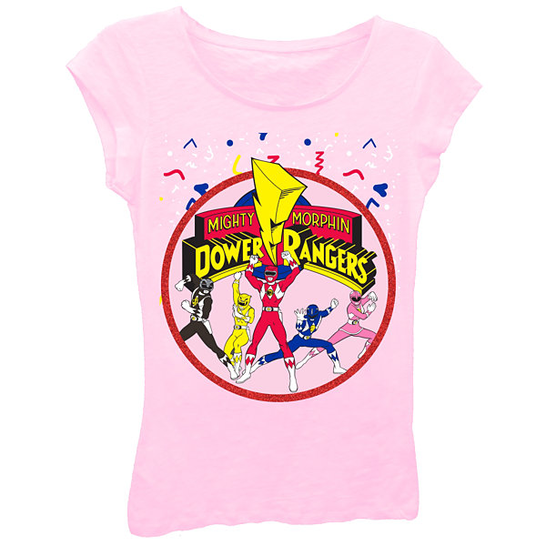Power Rangers Girls' Team Action Pose with Logo Short Sleeve Graphic T-Shirt