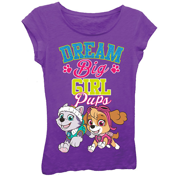"Paw Patrol Girls' ""Girl Pups Dream Big"" Short Sleeve Graphic T-Shirt with Blue Glitter"
