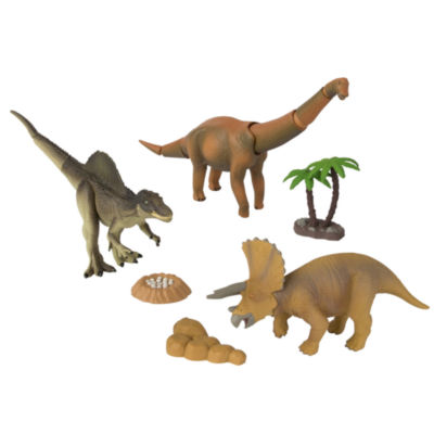 TOMY - ANIA Dino Stomp Value Pack Tricerotops, Brachiosaurus, Spinosaurus with Tree, Rocks and a Nest with Eggs