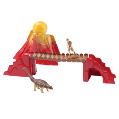 TOMY - ANIA Prehistoric Adventure Set with Ankylosaurus, Ranger, Bridge and Volcano with Boulder