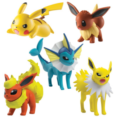 TOMY - Pokémon Multi Figure Pack, Flareon, Jolteon, Vaporeon, Pikachu and Eevee