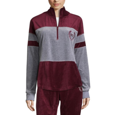 Flirtitude Velour Half Zip Sweatshirt-Juniors