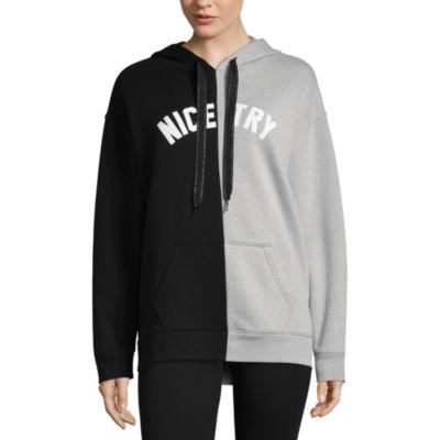 Flirtitude Split Graphic Sweatshirt-Juniors