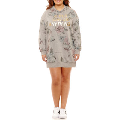 """Girls Can Do Anything"" Sweatshirt Dress-Juniors Plus"
