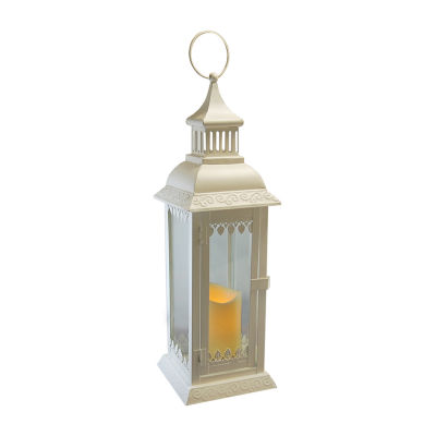 Metal Leaf Lantern with Battery Operated Candle