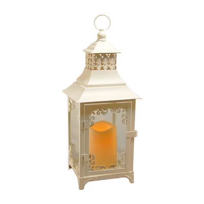 Metal Swirl Lantern with Battery Operated Candle