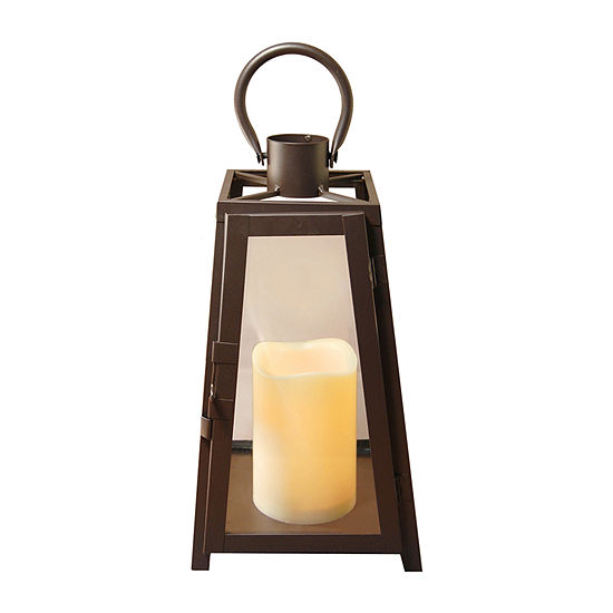 Metal Tapered Lantern with Battery Operated Candle