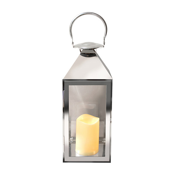 Metal Chrome Lantern with Battery Operated Candle