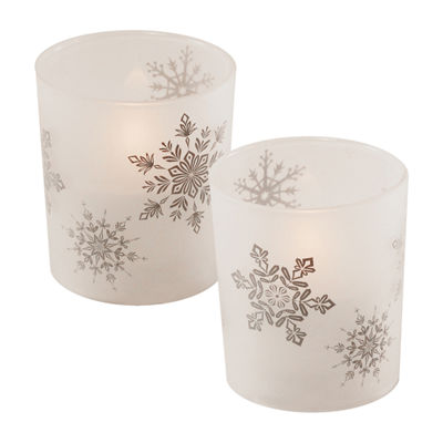 Glass LED Candles - Snowflakes (Set of 2)