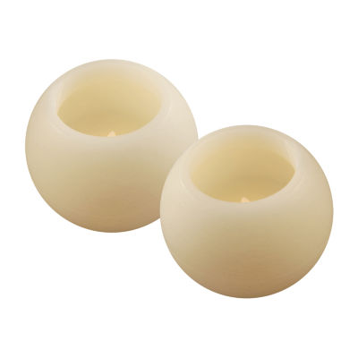 Battery Operated LED Candles- Round Balls (Set of 2)