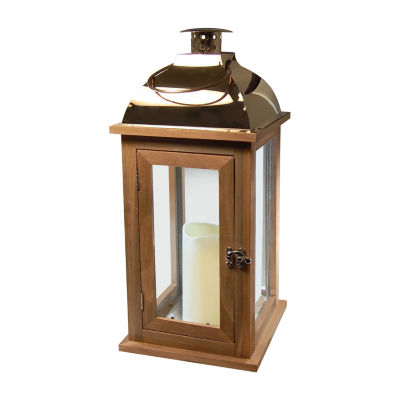 Wooden Lantern with Metal Roof and Battery Operated Candle