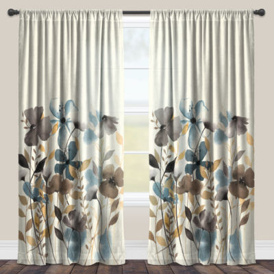 Laural Home Greige Florals Sheer Window Curtain