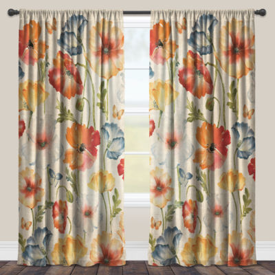 Laural Home Multi Watercolor Poppies Sheer Window Curtain