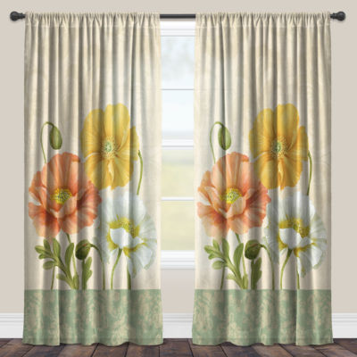 Laural Home Pastel Poppies Sheer Window Curtain