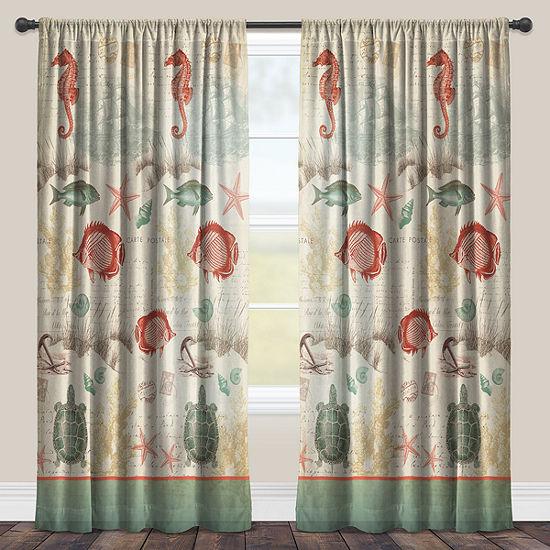 Laural Home Seaside Postcard - Sheer Window Curtain