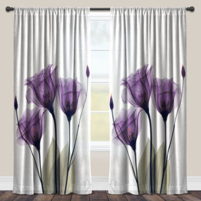 Laural Home Lavender Hope Sheer Window Curtain