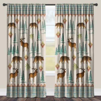 Laural Home Woodcut Lodge Room Darkening Window Curtain