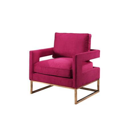 Devon & Claire Arya Velvet Armchair With Stainless Steel Base