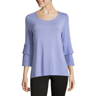 Liz Claiborne 3/4 Pleated Sleeve Crew Neck T-Shirt-Womens