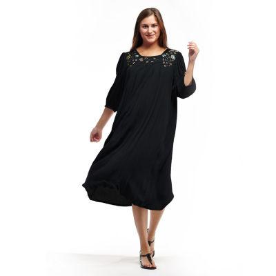 La Cera Women'S 3/4 Sleeve Rayon Dress With Embroidered Sleeve & Yoke - Plus