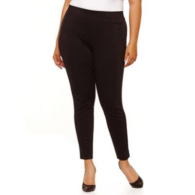 Boutique + Side Suede Panel Knit Pants-Plus