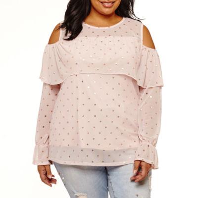 Boutique + Long Sleeve Cold Shoulder Mesh Blouse - Plus
