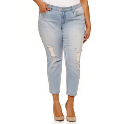 Boutique + Slim Fit Embellished Jeans-Plus