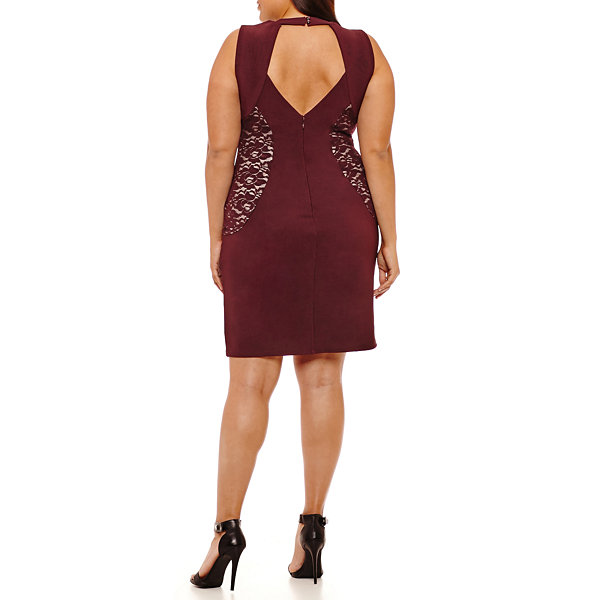 Bold Elements Sleeveless Lace Inset Bodycon Dress - Plus