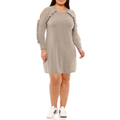 City Streets Long Sleeve Sweater Dress - Plus