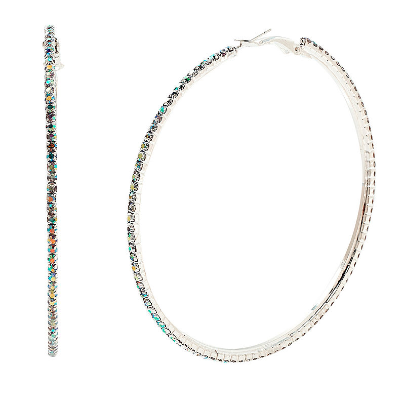 image of Bijoux Bar Multi Color 3 Inch Hoop Earrings