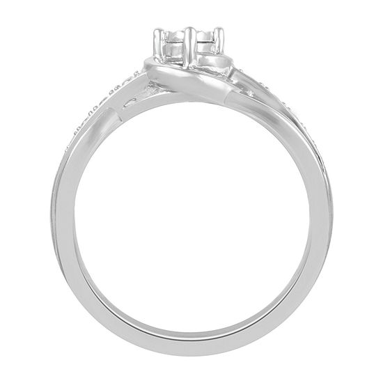 Womens Diamond Accent Genuine White Diamond Sterling Silver Promise Ring