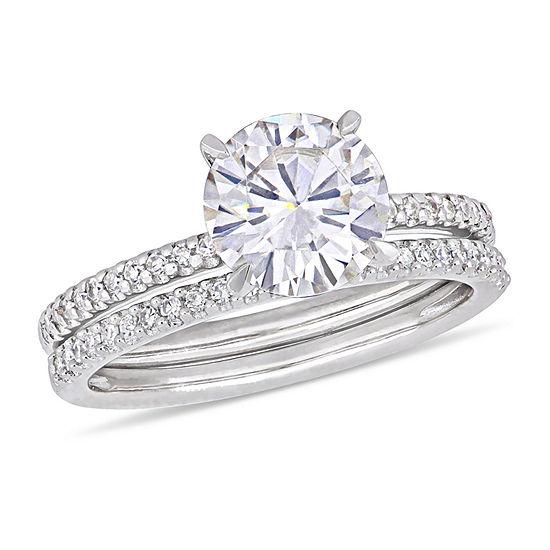 Womens 1/4 CT. T.W. Diamond and Moissanite 14K White Gold Bridal Set
