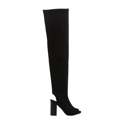Mia Girl Womens Robyn Over the Knee Stacked Heel Zip Boots