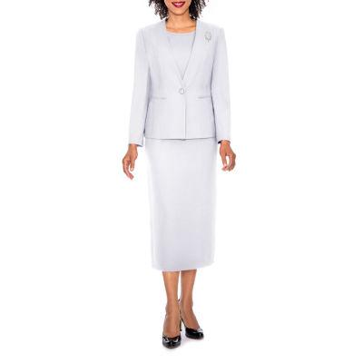 Giovanna Signature Women's 3-piece Microfiber Collarless Skirt Suit - Plus