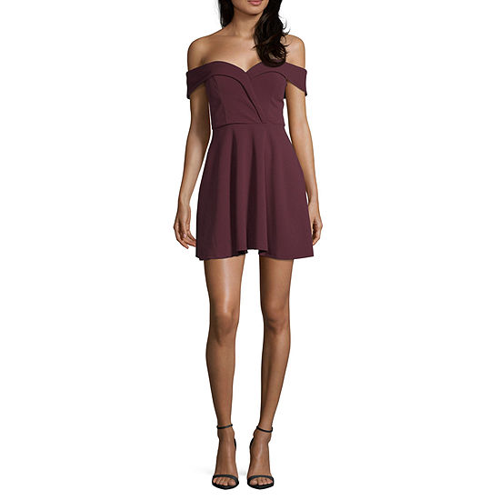 Speechless Short Sleeve Skater Dress-Juniors