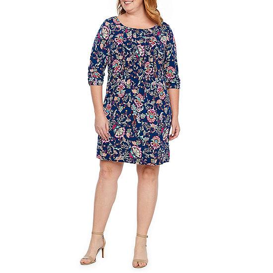 Perceptions-Plus 3/4 Sleeve Paisley Midi Fit & Flare Dress