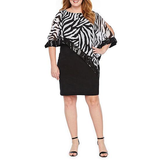 Scarlett Sleeveless Zebra Sheath Dress-Plus