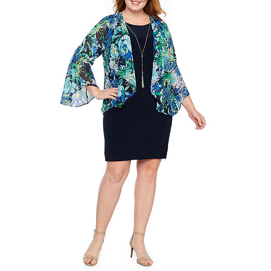 Tiana B 3/4 Sleeve Faux Jacket Dress-Plus