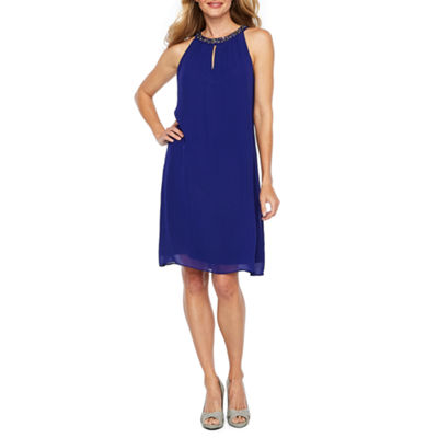 S. L. Fashions Sleeveless Beaded Shift Dress